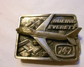 Vintage Boeing Aircraft Belt buckle-the First 747 Aircraft Flying over Everett Field in Washington