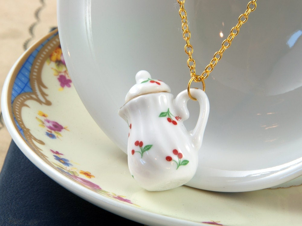 Cherry Teapot Necklace - Tea Lover Gift - Tea Wedding Favour - Teapot Jewellery