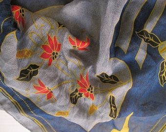 Autumn Leaves Ellen Tracy Silk Scarf crinkle sheer blue