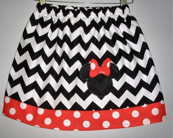 Minnie Mouse skirt Chevron  with applique  (available in sizes  2t,3t,4t,5t,6,7,8
