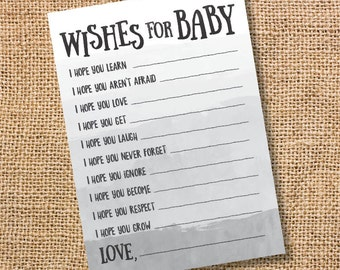 Wishes for Baby Gray Ombre Printable Baby Shower Baby Boy Twins Gender Neutral Grey Watercolor Baby Wishes Advice Card Gray INSTANT DOWLOAD