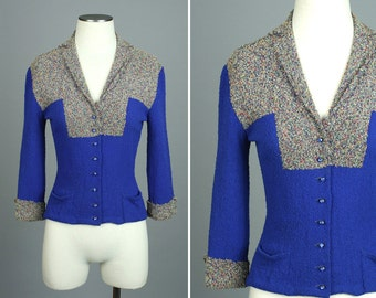 vintage 1940s knit sweater • electric blue textured boucle wool jacket