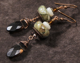 Big Pines earrings: rhyolite, smoky quartz, mother of pearl, crystal, copper