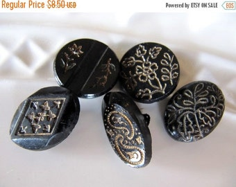 SALE Vintage GLASS Buttons Black with Etched Gold Floral Design Shank, 5 Pieces - OLD, A Bit Worn and Beautiful