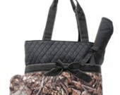 Black Quilted Camo Diaper Bag Set Changing pad..Personalize it for FREE... at no charge.... WOW What a Deal