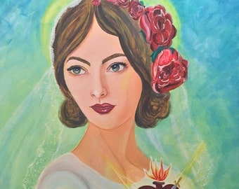 """Mary with the Immaculate Heart - Original Acrylic Painting on stretched canvas 24""""x24"""""""