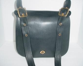 SALE     Vintage Coach black  leather Stewardess Cross body Messenger bag .