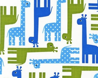 Urban Zoologie Blue Giraffes for Robert Kaufman 1/2 yard