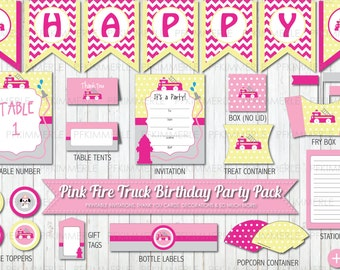 Fire Truck Themed Party Pack,  Pink, Birthday Party Decorations, DIY Party, Pink Party, Girl Party,