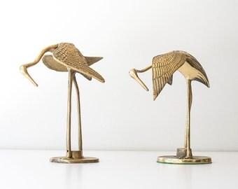Vintage Brass Birds Cranes - Figurines
