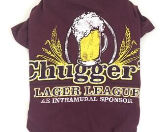 Beer Dog Tee, Chuggers Lager Dog Tee, size Medium
