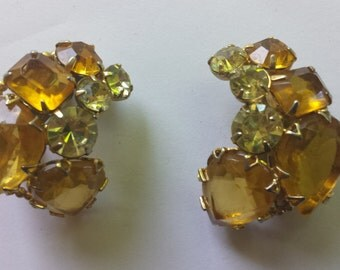 Flashy Rhinestone Clip On Earrings