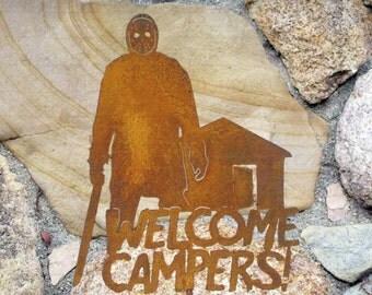 Jason Voorhees Welcome Campers Garden Sign
