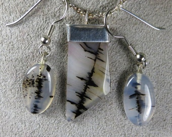 Montana Agate Sterling Silver Necklace earring set natural stone
