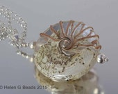 Long Sterling silver and giant lampwork bead pendant from the Jurassic Coast range by Helen Gorick