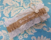 Burlap and lace You're Next Wedding Garter Embroidered with white font and pearl throw garter toss garter