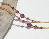 Gold Eyeglass Chain Beaded with Purple Swarovski Crystal - Eyeglass Holder Necklace Reading Glasses Chain