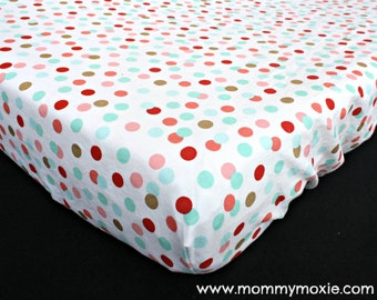 Designer Metallic Gold Coral Mint Polka Dots on White Changing Pad Cover for the Modern Nursery Changing Table - by Mommy Moxie on Etsy