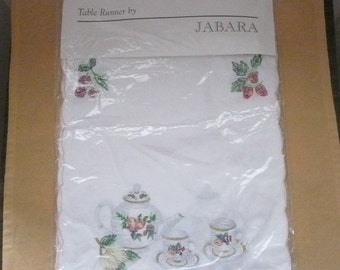 Jabara Embroidered Cotton Table Runner with Teapots, Teacups and Strawberries