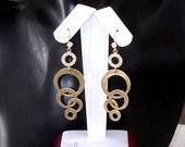 READY FOR SPRING Sale: Ashira Elegant Interlocking Circles Dangle Drop Earrings in Matte Gold, Ring of Cz, Diamond Zircon Stud Earring