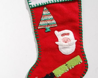 "16"" Christmas Stocking Red Felt, ""DAD"" Handmade, Sequins, Train, Tree"