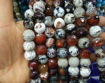 2 str -White Coffee Brown Agate 14mm Round ball beads -28pcs/strand