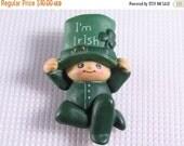 Sale 20 Vintage St Patricks Day heavy acrylic baby Irish brooch pin