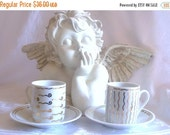 50% Vintage White Gold Pottery Barn Demitasse Set for Two