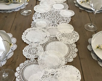 TABLE RUNNER Shabby Rustic Paper Doilies - Diy, Weddings, Parties, Table Decor, Tablescape, Decoration