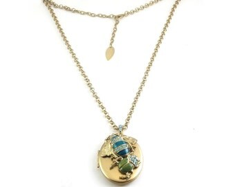 Victorian Style Bumble Bee & Beetle Locket Necklace - Aqua and Green