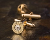 Bullet Cufflinks, Winchester 9mm Brass Bullet Cufflinks, Wedding Cufflinks, 9mm Cufflinks, Groomsmen Gifts, Bullet Cuff Links