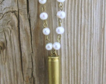Bullet Necklace / Pearl Beaded Casing Necklace WIN-223-B-PBCN / Brass Bullet Necklace / Brass Necklace / Pearl Necklace / Pearl Jewelry