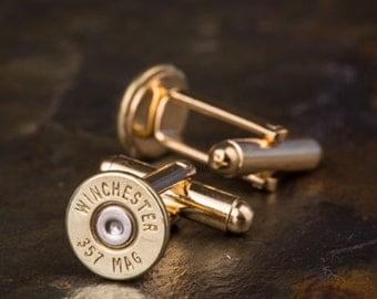Bullet Cufflinks, Winchester 357 Mag Brass Bullet Cufflinks, Wedding Cufflinks, 357 Mag Cufflinks, Bullet Cuff Links, Wedding Cuff Links
