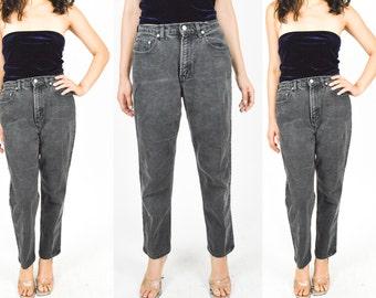 90's BLACK STONEWASH JEANS. Straight Leg. High Waist. Cropped Leg + Classic Fit. 1990's Grunge Mod Boyfriend Jean. Size S/M Waist 28. 28X30