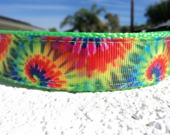 "Sale Dog Collar 1"" width Quick Release buckle or Martingale collar adjustable Hippie Splash / sizes S - XL"