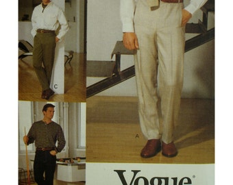 "Mens Flat Front Pants Pattern, Tapered Leg, Welt Pockets, Back Pockets, Waistband, Carriers, Vogue No.8918 UNCUT Size Waist 32"" 34"" 36"""