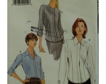 Fitted Shirt Blouse Pattern, Hidden Front Closure, Pointed Collar/Jewel Neck, Elbow/Long Sleeves, Cuffs, Vogue No.7063 UNCUT Size 6 8 10