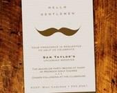 Gentlemans Moustache Bachelor Party Invitations *Digital Download*