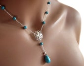 Y Necklace Turquoise Gemstone Sterling Silver Floral Pendant Womens Jewelry Gift