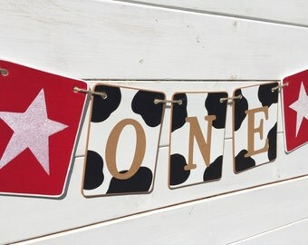 Western ONE banner, birthday banner, high chair banner, cow pattern garland, western birthday, country glitter star, smash cake banner