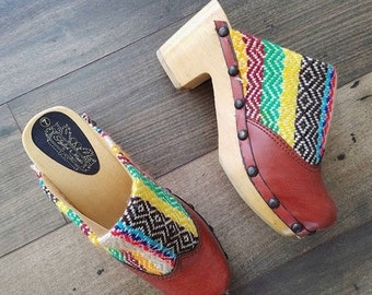 SALE 1970's Deadstock Woven Tapestry & Vegan Leather Wooden Studded Clogs a Vintage Kilim Clogs Sz 7 by Maeberry Vintage NWOT
