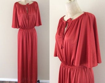 1970's Rust Colored Slinky Maxi Dress w/ Flutter Sleeves Vintage Dress Disco Size Small Medium Large by Maeberry Vintage
