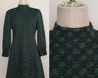 1970's Green Holiday Lurex Sparkle Dress Mod Mini Vintage Dress Size Small Medium by Maeberry Vintage