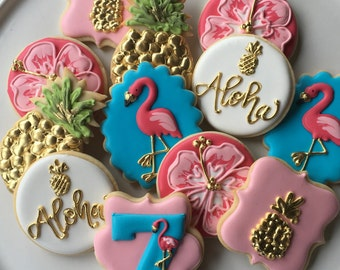 Pink Flamingo and Pineapples Aloha! Sugar Cookie Collection