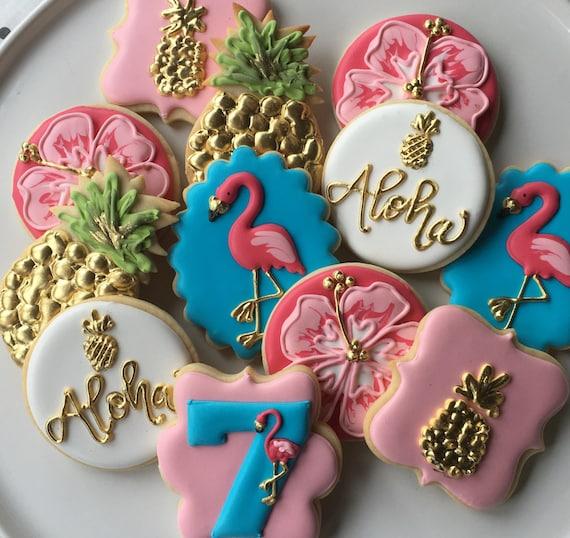 Pink Flamingo And Pineapples Aloha Sugar Cookie Collection