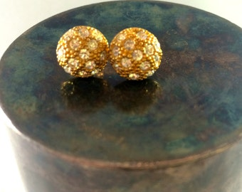 Gold and rhinestone button earrings