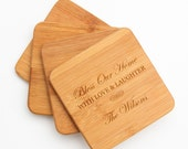 Personalized Bamboo Coaster, Custom Engraved Coaster, Personalized Coaster, Personalized Housewarming, Host Hostess, Bless Our Home D22
