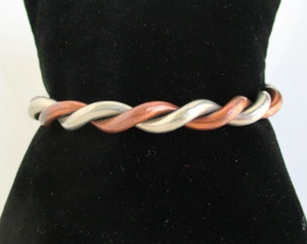 Vintage Twisted Cuff Bracelet - Copper & Silver / Nickel, Heavy