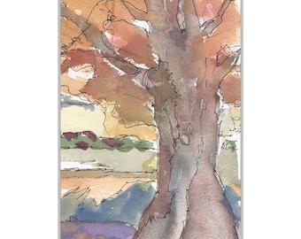 Original Watercolor Tree Painting Watercolor & Ink Art Fall Landscape Tree Art SFA