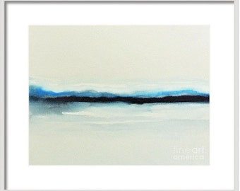 Abstract landscape watercolor painting, ORIGINAL modern art dark blue minimalist style, mountains lake ocean, blue gray white abstract 16x20
